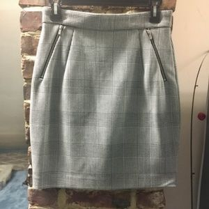H&M Houndstooth Plaid pencil skirt Zipper Pockets